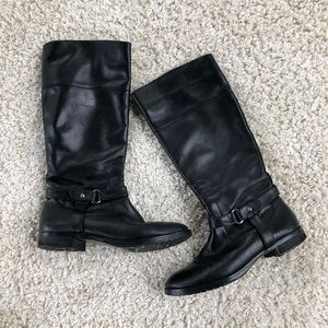 Ralph Lauren Sanyia Tall Leather Black Riding Boot